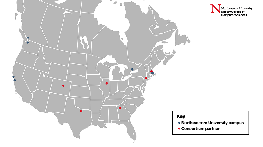 A map showing Northeastern campus and consortium locations